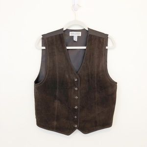 Vintage Western Style Women's Brown Leather Vest